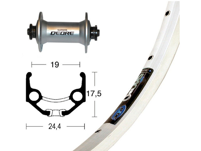 Ryde Zac 19 Front Wheel 28x1.75 Deore silver